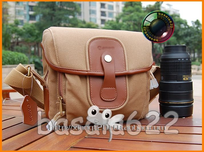 ФОТО Leather Canvas Camera Case Shoulder Bag for Canon 550D 600D 60D 50D 7D 5DII DSLR