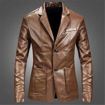 Blazer Negro Para Hombre | 2019 Nueva Moda Hombres Blaze Slim Fit Chaqueta De Cuero Moda Negro Fiesta/boda/negocios Blazer Chaqueta De Cuero Masculinidad