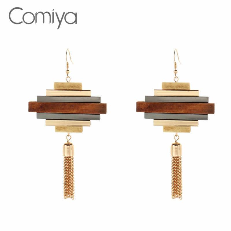 eeaab2d69b8d Comiya Fashion Big Earrings Wood Decoration Vintage Handmade Jewelry From  India Zinc Alloy Tassel Ethnic Long
