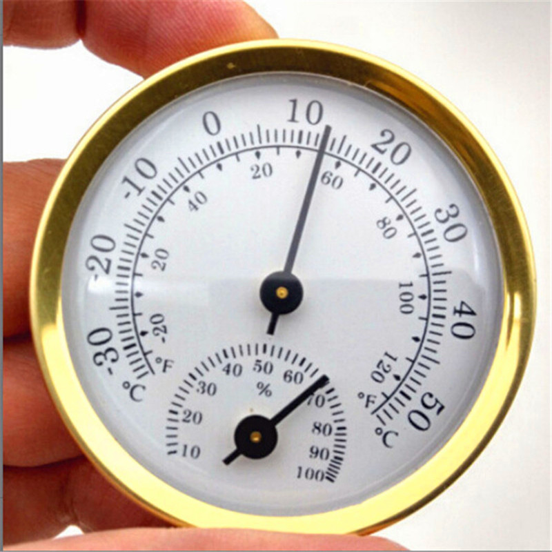 Yooap Mini Round Double Dial Thermometer Hygrometer shaped Measuring Indoor Outdoor Wall Temperature Humidity-Gold and Silver