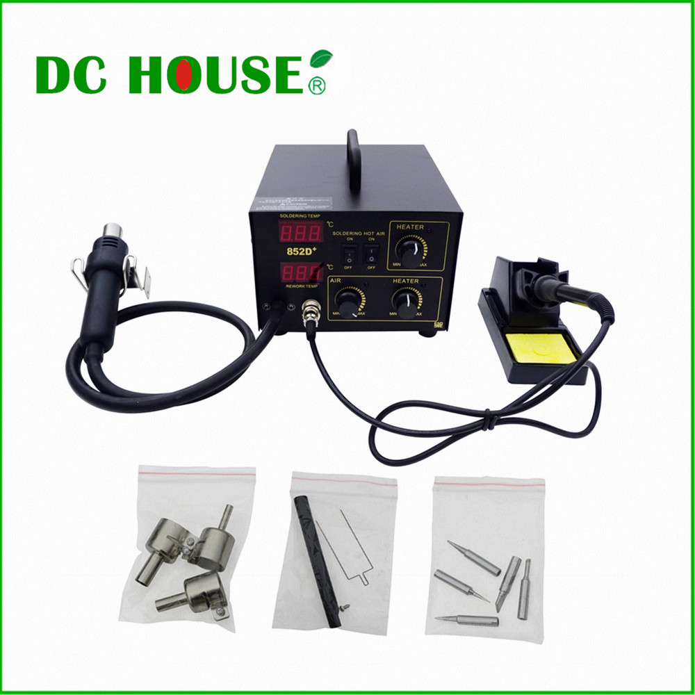 Eu stock , no tax, SMD Soldering Rework Station 852D 230V W/ Hot Air &Iron,holder,Nozzles, 5 tips