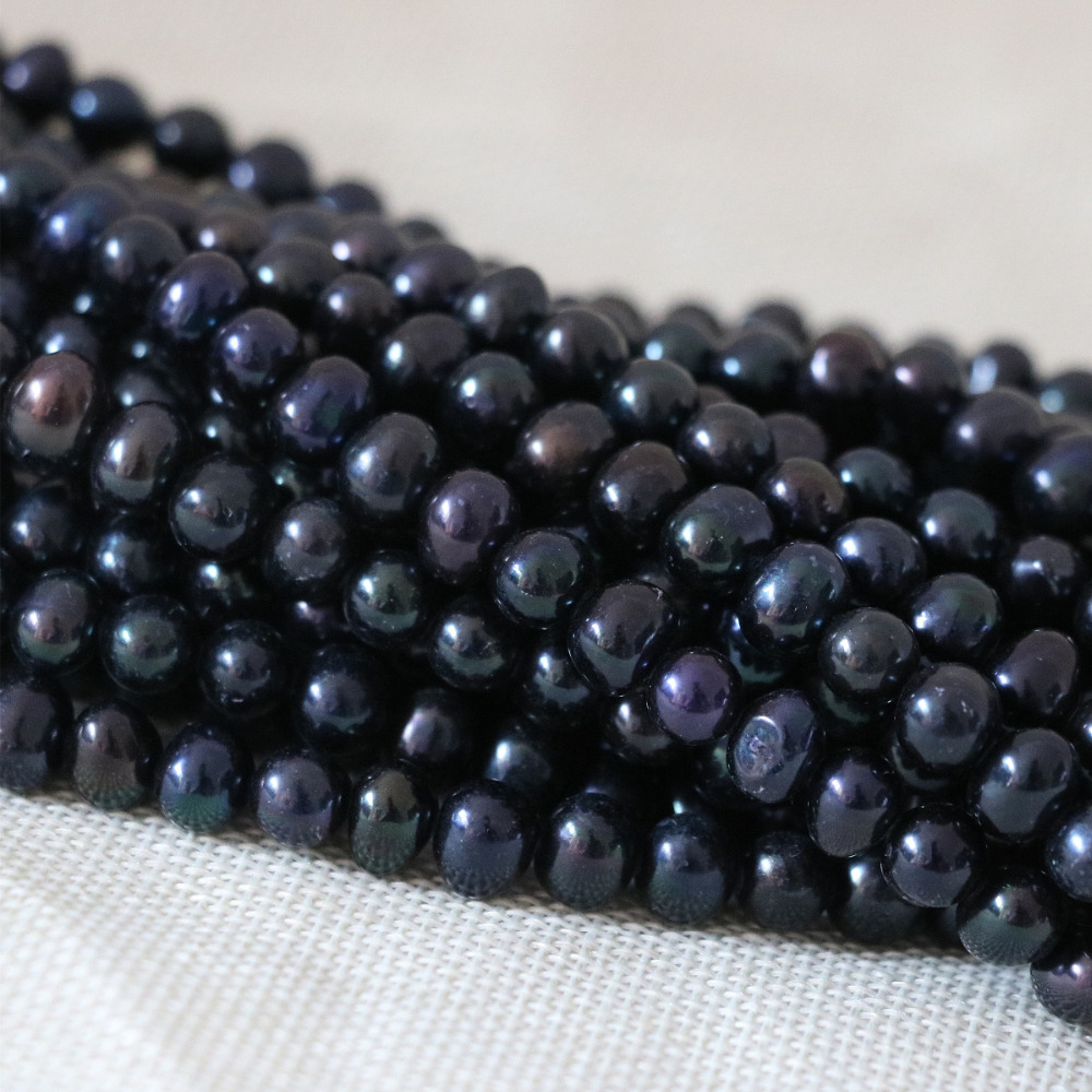 Beauty 7-8mm black natural pearl beads freshwater cultured wholesale retail factory price fine jewelry making 15inch B1338