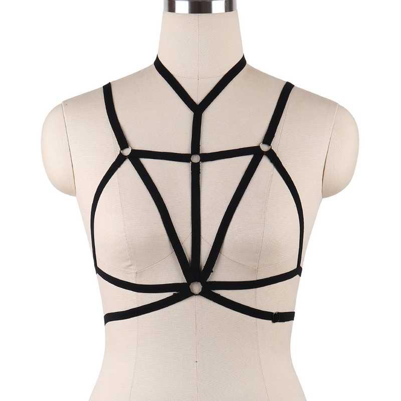 Seksi Açık göğüs askısı Sutyen Kadın Fetiş Giyim Bodysuit Erotik Lingerie Kölelik Demeti Siyah Şeffaf Sütyen Demeti Kafes DS017