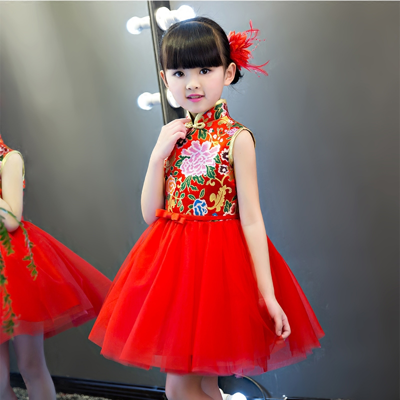 2017New cute dress cotton cheongsam ball gown embroidery retro Chinese wind red birthday party dress girl dancing dress 3-15Y 100 super cute little embroidery chinese embroidery handmade art design book