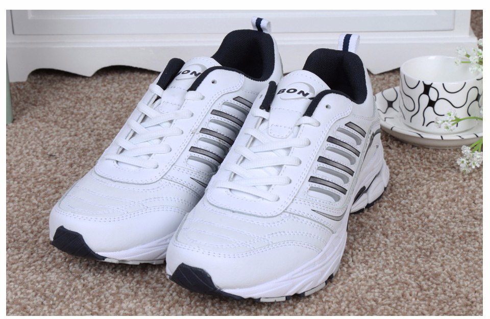 Foto from the front BONA popular running sneakers for men. Men's athletic shoes for outdoor white color
