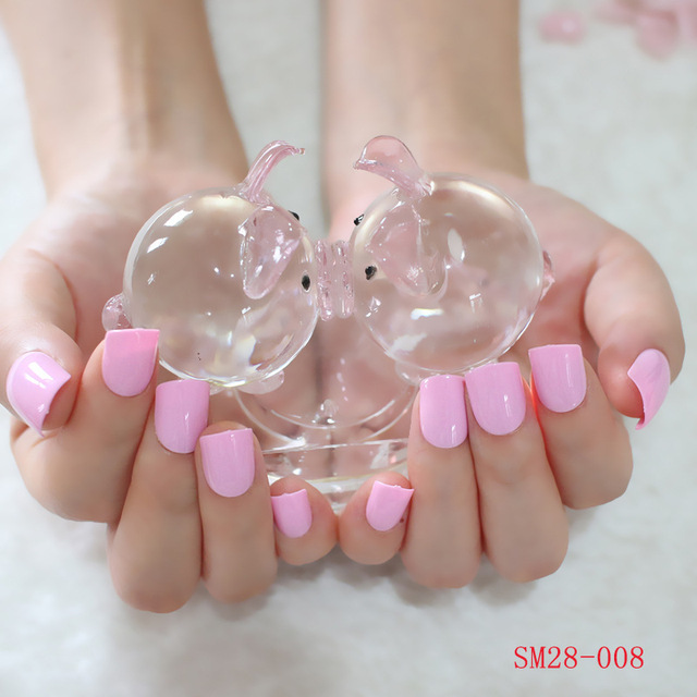 Candy Color Short Fake Nails Princess Pink Acrylic Nail