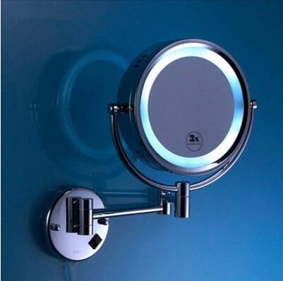 2015 tempo limitado superior moda espejos de alta qualidade latão cromado banheiro led espelho cosmético na parede montado espelhos acessórios - 3