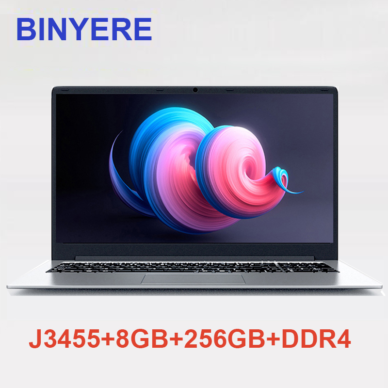 BINYEAE Laptops 15.6 inch 8GB RAM DDR4 256GB SSD ROM intel J3455 Quad Core Notebook Computer With FHD Screen Gaming UltrabookBINYEAE Laptops 15.6 inch 8GB RAM DDR4 256GB SSD ROM intel J3455 Quad Core Notebook Computer With FHD Screen Gaming Ultrabook