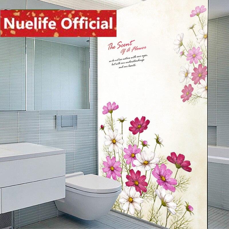 58x120 cm couleur fleur motif verre dépoli film toilette cuisine salon bureau balcon porte fenêtre opaque verre film N2