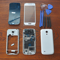 White Full Housing Cover Repair Parts,Outer Glass,Original adhesive,Tools,Home Button For Samsung Galaxy S4 SIV Mini i9190 i9195
