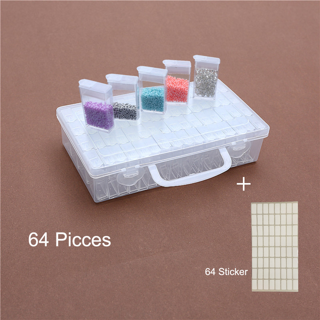 64 128 pcs Diamond Painting Tools Beads Container Rhinestone Diamond  Embroidery Stone Storage Accessory Mosaic 97305c2c8a19