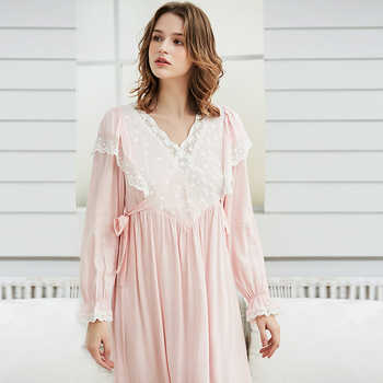 Gentlewoman Nightgown Vintage Lace Cotton Nightgown Women Elegant White Sleepwear Dress Long sleeved Nightdress Pink Ladies - DISCOUNT ITEM  53% OFF All Category