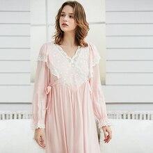 Sleepwear branco elegante vestido de noite de manga comprida camisola de algodão de renda do vintage das senhoras cor de rosa