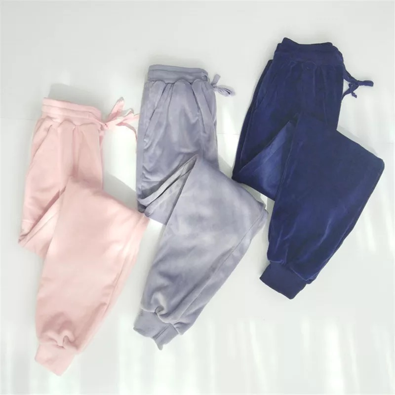 Flannel Cotton Pajama Pants Women Sleepwear Plus Size Lounge Sleep Bottoms Home Vintage Solid Pyjama Underwear Trousers Pant
