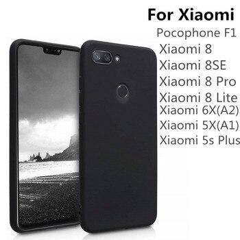 100pcs Black Matte TPU Phone Case For Xiaomi Mi 8 Lite 8Se Pocophone F1 6X 5X A1 A2 Ultra Thin Soft Silicone Protective Cover