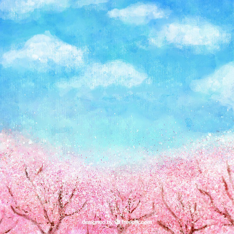 Watercolor spring landscape pink cherry trees blue sky white clouds Background Vinyl cloth Computer print wall backdrop