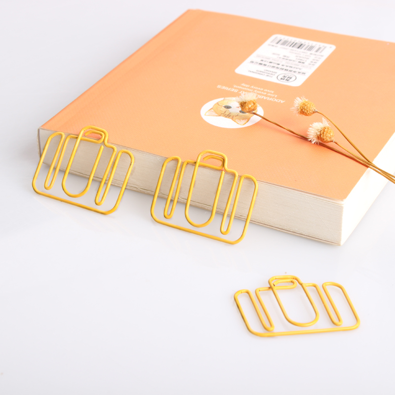 Special-shaped Yellow Camera Paper Clip Shaping Bookmark Shool Stationary Office Clip Paperclips Metal Paper Clips Yellow