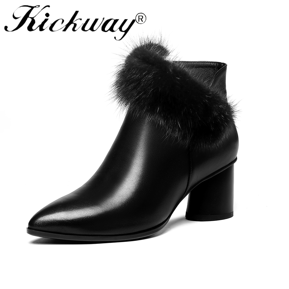 7713e4c5c94e0 Kickway 2018 New arrive ankle boots for women high heels shoes fashion real  fur winter party womens boots zipper lady shoes