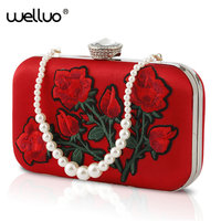Embroidery Red Rose Flower Beaded Fashion Women Shoulder Handbags Messenger Crossbody Bags Evening Totes Bag Clutch Purse XA171B