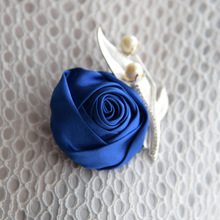 Handmade Satin Boutonniere with Ribbon