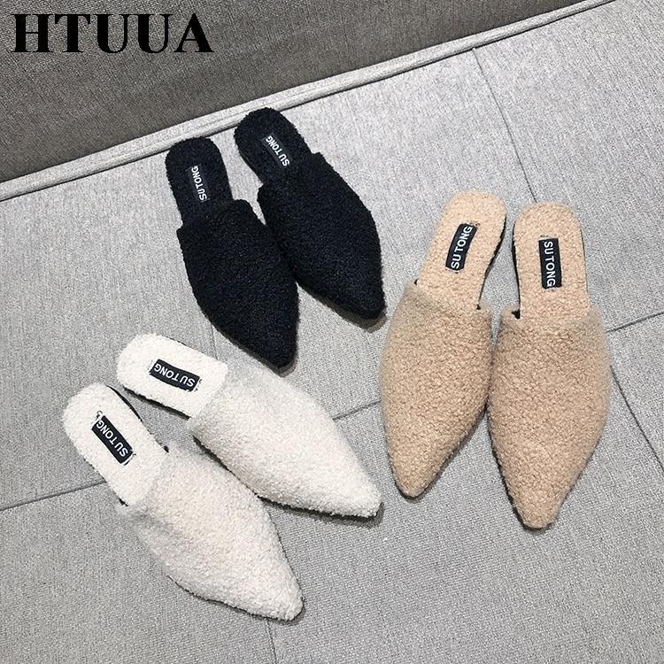 Htuua Femmes Nouveau Glissent Sx2021 Bout 2019 Chaussures Plat Intérieur Sexy Sur blanc Pantoufles Flop Pointu Extérieur kaki Printemps Flip Noir Mules Pantoufle rhCtQds