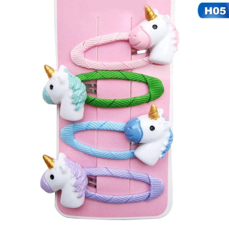 4pcs//set Unicorn Hairpin Cartoon Horse Ponytail Holder Kid Hair Band Hair Clip