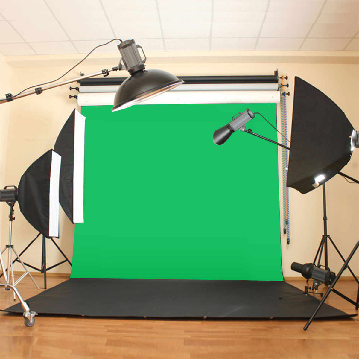 10X10ft/300x300CM Chromakey Green Screen Muslin Green Cloth Screen Backdrop Photo Photography Studio Background
