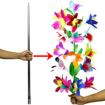 Vanishing Disappearing Cane To Flower Silver Cane Close Up Stage Magic Tricks for Professional Magician Magic Props Funny Gadget