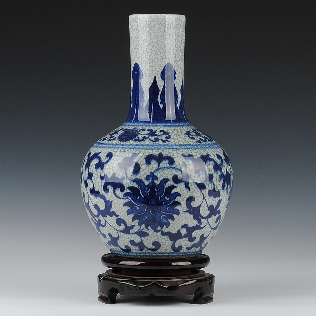 Ceramics blue and white porcelain antique guanyao crack glaze vase vintage home decoration crafts