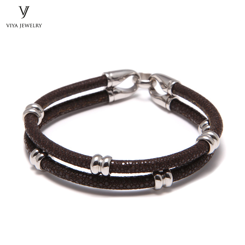 simple beads stingray leather bracelet for men ,couple stingray beads bracelets (2)