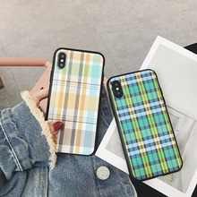 maosenguoji Plaid texture Simple With hair ball soft Mobile Phone Case for iphone6 6s 6plus 7 7plus 8plus X fashion Couple case