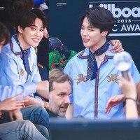kpop exo Bangtan Boys Birthday Association JIMIN same paragraph blue men Shirt 2018 korean Spring summer Shirt men