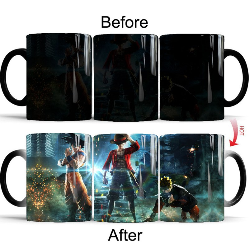 1pcs Creative Magic Mugs Anime Naruto Dragon Ball One Piece Color Changing Mug Luffy Goku Naruto Three In One Porcelain Cup taza de m&m