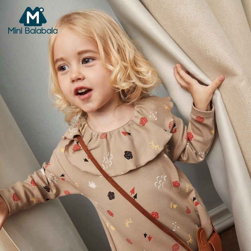 Image 3 - MiniBalabala Kids Girls Striped A line Dress Flounced Children Toddler Girls Graphic Dresses with Flounce Collar Long Sleeve-in Dresses from Mother & Kids