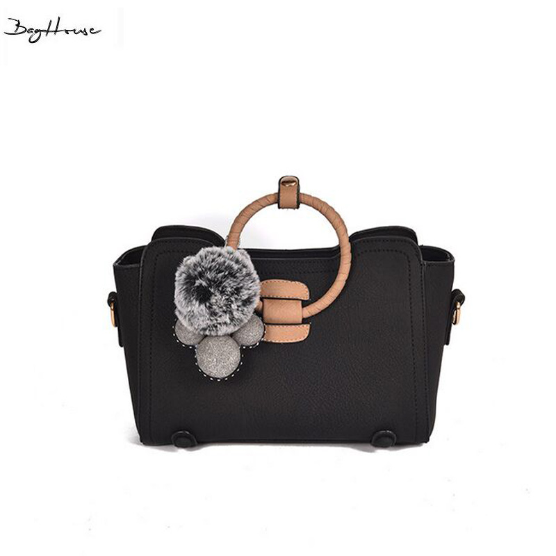 ФОТО Winter womens cute hair ball Top-handle bags famous brand italian leather luxury handbags ladies office messenger bag sacoche