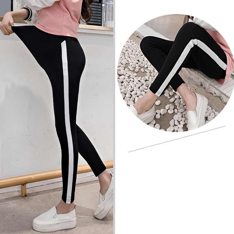 Stretch legginsy ciążowe spodnie dolne dla kobiet w ciąży boku Stripe Casual Skinny ciąży legginsy odzież ciążowa wiosna