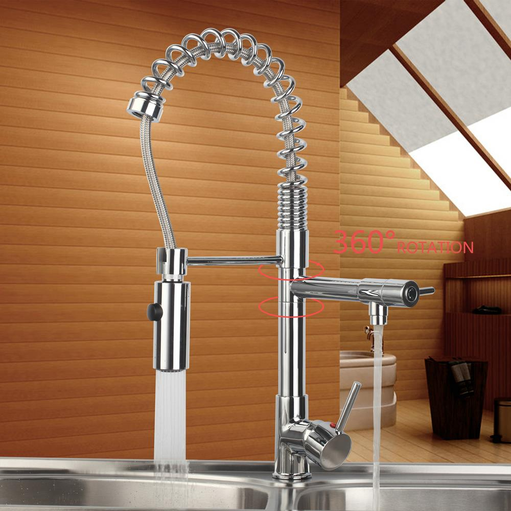 popular 2 way kitchen faucet buy cheap 2 way kitchen faucet lots shivers pull out down kitchen sink swivel sprayer dual water way 97168d063 2 torneira vessel