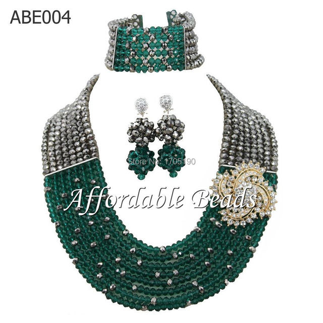 African Wedding Bead Jewelry Set Fashion Crystal Jewelry Sets Chunky Necklace Set Gift Jewelry Free Shipping ABE004