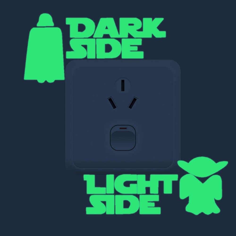1 pièces dessin animé lumineux interrupteur autocollant lueur dans le noir Stickers muraux décor à la maison enfants chambre décoration autocollant décalcomanie Star Wars