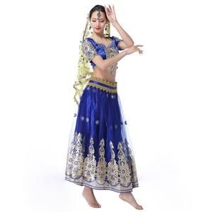 Image 2 - อินเดียชุดบอลลีวูดแบบดั้งเดิมชุดเครื่องแต่งกาย 3pcs ชุด + เข็มขัด + กระโปรงผู้หญิง Belly dance คำชุดเต็มเครื่องแต่งกายเต้นรำ