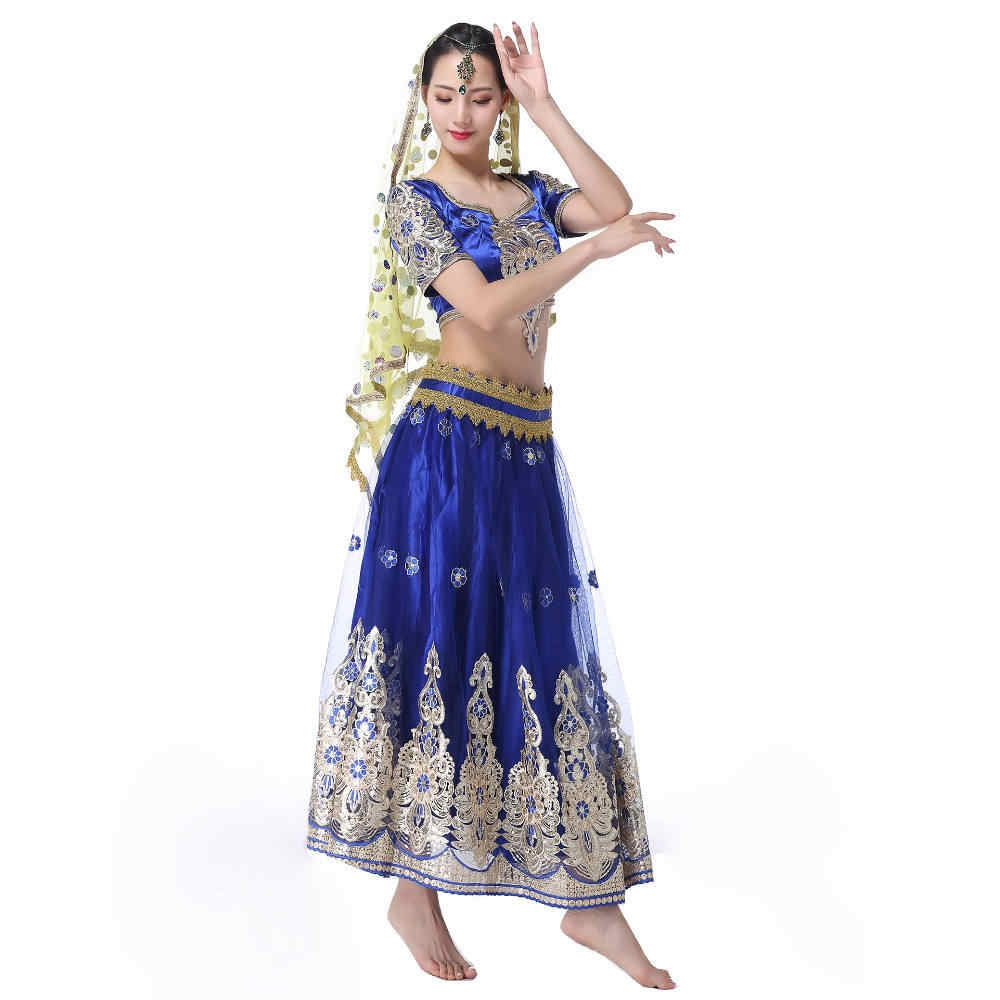 2cad84c7f5 ... Indian Outfits Bollywood Traditional Dress Costumes 3pcs Set Top+Belt+ Skirt Women Belly dance ...