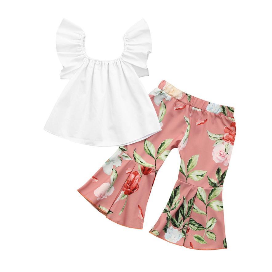 2 шт. Одежда для девочек 5 лет малышей Детская одежда для девочек цветочные топы с открытыми плечами + штаны с оборками Комплект изысканные на...