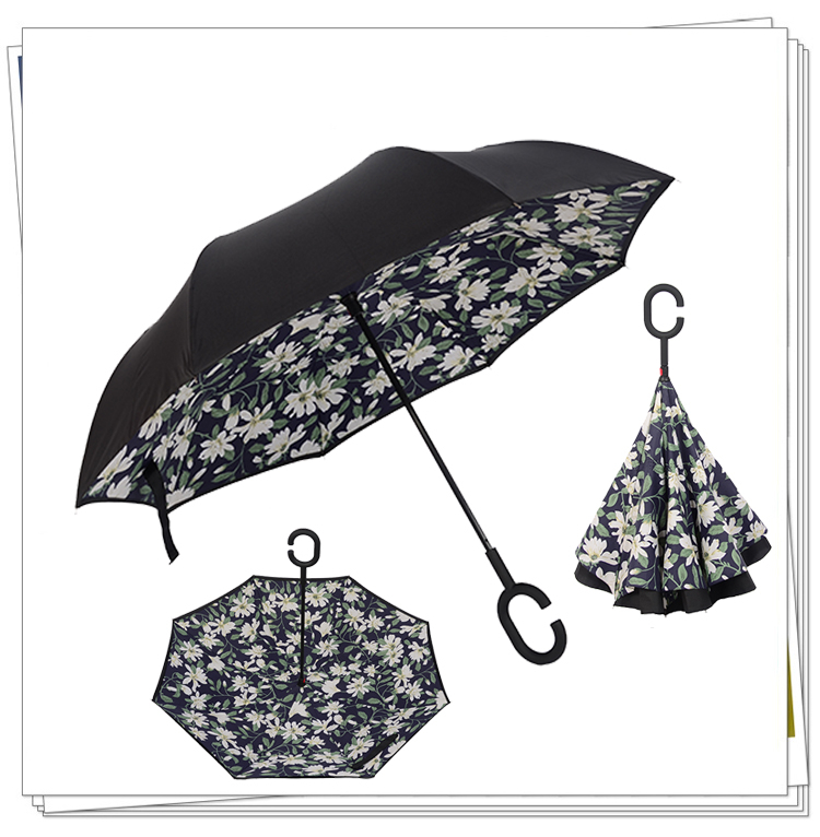 Car Creative Pretty Windproof Reverse Folding Double Layer Inverted Sturdy Umbrella Distinctive C-Hook Hands-free High Quality цена 2017