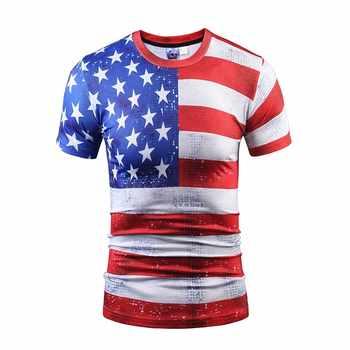 Divertida impresión América USA bandera impresa camiseta hombres/mujeres camiseta impresión estrellas rayas Camisetas verano Tops