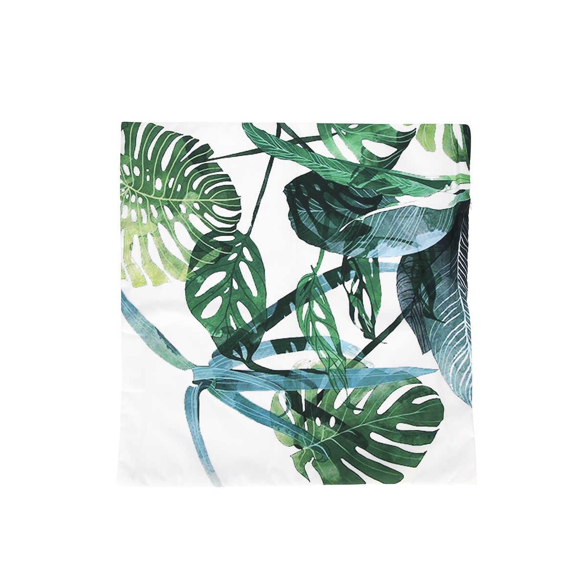 Tropical พืชสีเขียวใบ Monstera เบาะครอบคลุม Hibiscus ดอกไม้เบาะรองนั่งตกแต่ง Beige ผ้าลินินหมอนกรณี