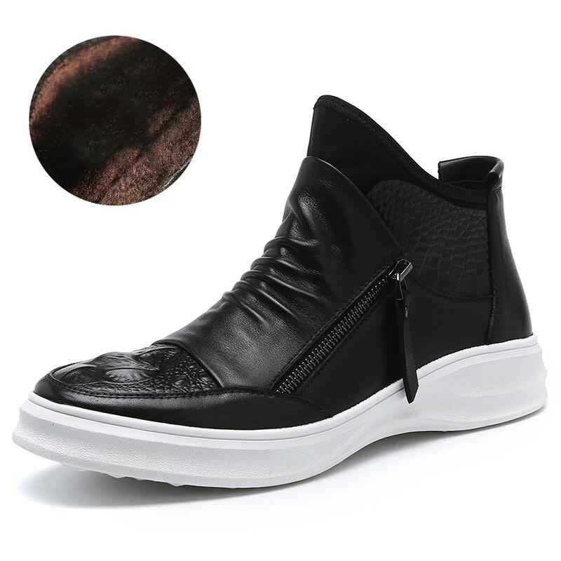 plush Black white Homem Botas Mycolen Sapatos Bota Dos Casual Calçado Sapatas Couro black New Homens Homme Arrivals Moda Preto De Bottes High white plush Top Outono wwBRf
