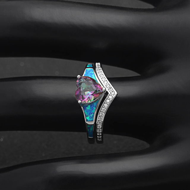 Женские кольца с опалом в форме сердца 2 шт винтажные ювелирные