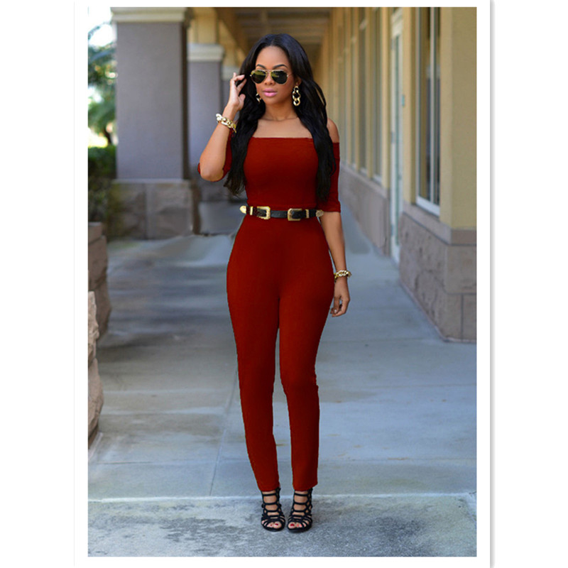 5 colors summer new fashion women rompers and jumpsuit sexy off the shoulder strapless solid bodysuits
