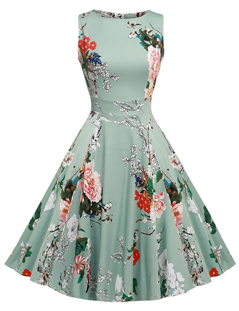 Kostlish Cotton Summer Dress Women 2017 Sleeveless Tunic 50s Vintage Dress Belt Elegant Print Rockabilly Party Dresses Sundress (44)