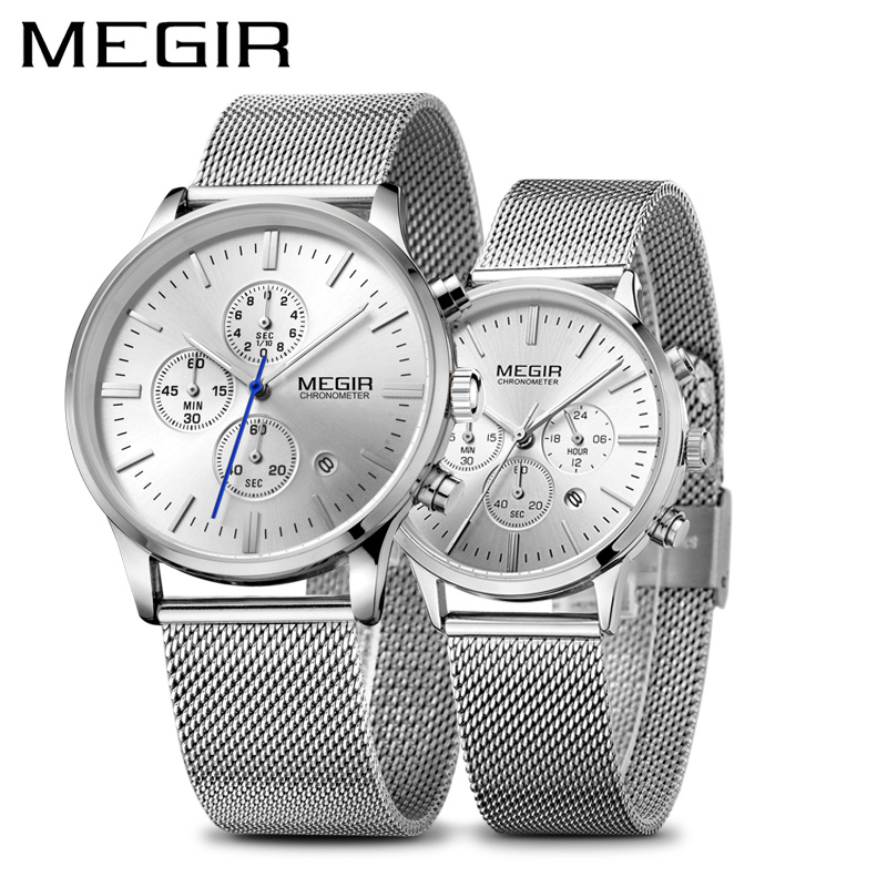 MEGIR Mens Watches Top Brand Luxury Waterproof Quartz Watch Set for Lovers Clock Hour Time Relogio